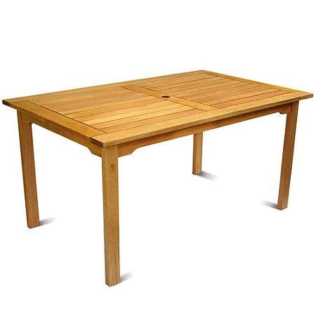 Milano FSC Eucalyptus Wood Rectangular Outdoor Table Make A Wonderful Addition Your Deck, Pool Area Or Home - Milano Eucalyptus