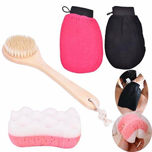Price comparison product image AiQueen 4 Pcs Moroccan Hammam Bath Scrub Glove Bristle Hair Bath Brush Skin Care Bath Sponge Exfoliating Body Facial Tan Massage Bath Tool