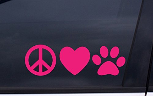 focenterprises-peace-love-dog-paw-vinyl-decal-3x7-pink-rescue-pound-puppy-sticker