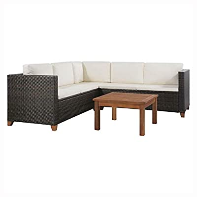 HEATAPPLY Outdoor Furniture Set, 4 Piece Garden Lounge Set with Cushions Poly Rattan Brown