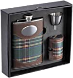 "Visol ""Edinburgh"" Plaid Cloth Stainless Steel Deluxe Flask Gift Set, 8-Ounce"