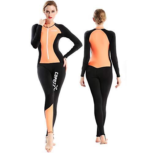 COPOZZ Diving Skin, Men Women Youth Thin Wetsuit Rash Guard- Full Body UV Protection - for Diving Snorkeling Surfing Spearfishing Sport Skin (Black/Orange, Large for Women)