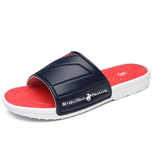 Beverly Hills Polo Club Men's Slide Sandal Slip On Comfortable Shower Beach Shoe Flip Flop Platform Athletic Sandal Men