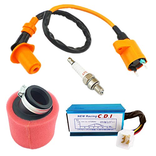 (QAZAKY Performance Ignition Coil + 5 Pins AC CDI + Spark Plug + Red Angled Double Foam Pod Air Filter for GY6 50cc - 90cc 110cc 125cc 150cc Scooter ATV Go Kart Moped Quad Go Kart Pit Dirt Racing Bike)