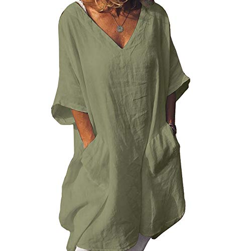 Cicy Bell Women's V Neck Linen Tunic Tops Half Sleeve Summer Loose Fit Casual Dresses with Pockets Green