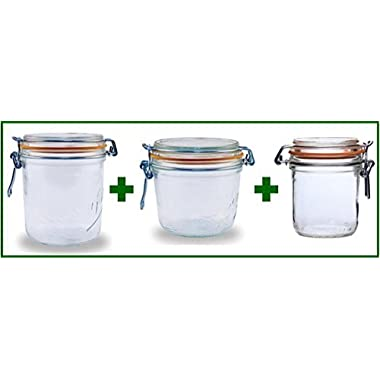 Set of 3 - Le Parfait French Wide Mouth Glass Canning Jars - 26.25 oz, 17.5 oz, and 9.7 oz