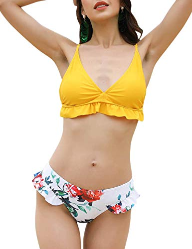 (Lover-Beauty 2019 Removable Padded Bikini Back Lace Up Tankini Front Ruffles Cute 2PCS Swimsuit Bathing Suit)