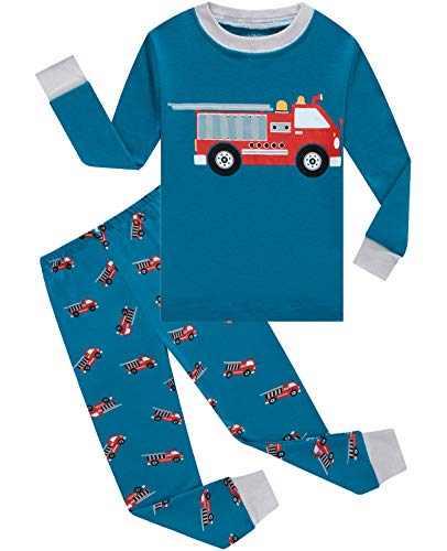 Dolphin&Fish Boys Pajamas 100% Cotton Long Sleeve Toddler Pjs Set Fire Truck Clothes Kids Pjs Sleepwear 4T Blue