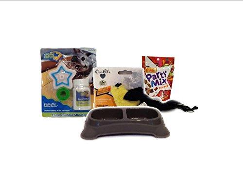 Cat Fun Pack Bundle | Bubble Catnip Fun shooter | Chirping Bird | Double Feeding DIsh | Friskies Party (Chirp Dish)
