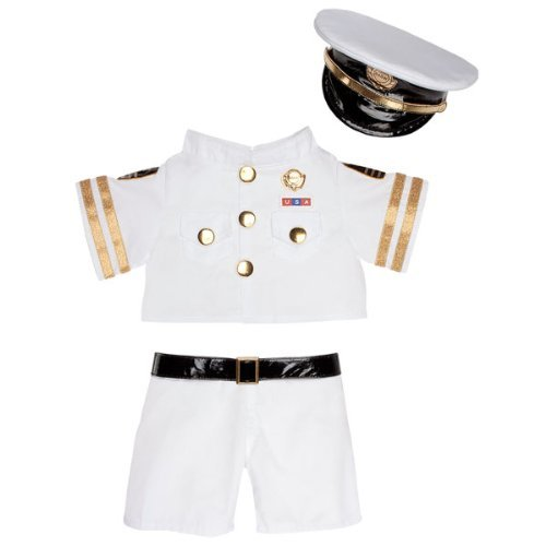Build-a-Bear Workshop White & Gold Military Uniform 3 pc. - Navy Bear