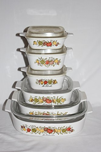 Set of 12 - Vintage 1970s Corning Ware  inch Spice O Life  inch Covered Casserole Skillet Baking Dishes w/ Lids (2 Liter, 1.5 Liter, 1 Quart, 2 3/4 cup, 700 ml & 1 3/4 cupml)