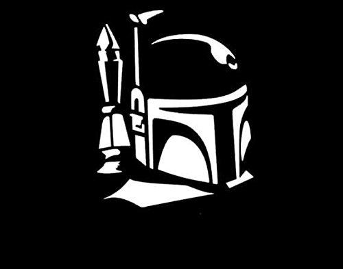 [Boba Fett Star Wars Decal Vinyl Sticker|Cars Trucks Vans Walls Laptop| White |5.5 x 4 in|LLI189] (Bounty Hunter Badge Costume)