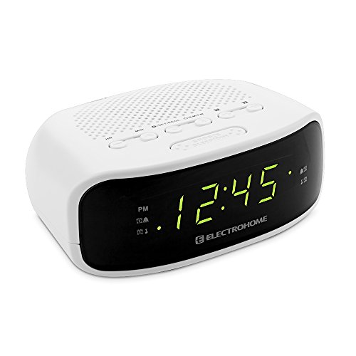 electrohome digital am fm clock radio w battery backup dual alarm snooze wh. Black Bedroom Furniture Sets. Home Design Ideas