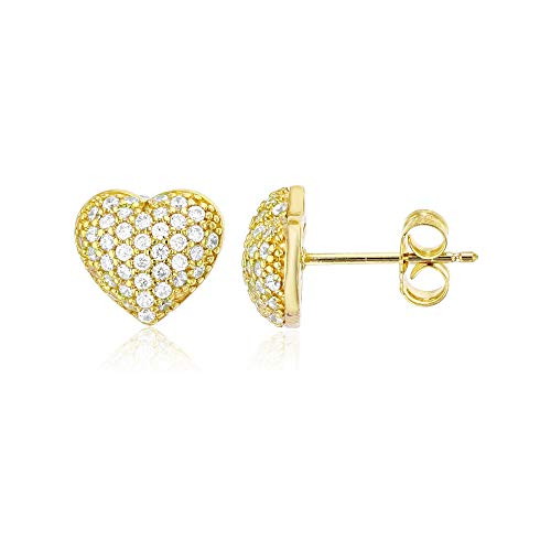 Sterling Silver Yellow Micropave Puffed Heart Stud Earrings