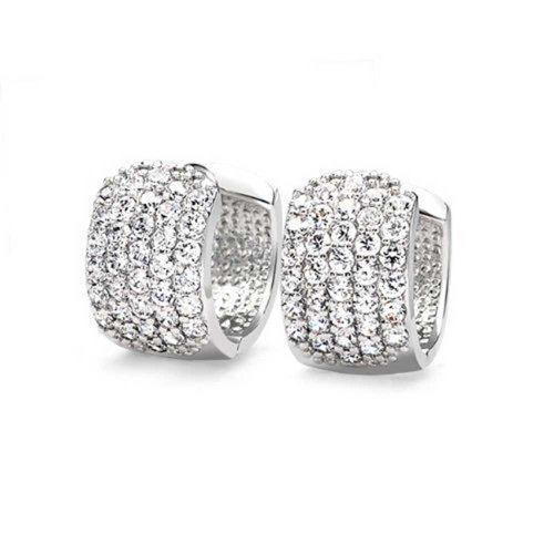 Bling Jewelry Round Cubic Zirconia Five Row Pave Wide Huggie Hoop Earrings