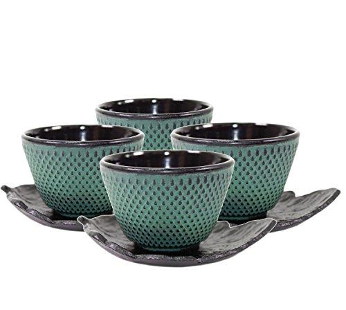 (4 Black Leaf Teacup Saucer + 4 Green Polka Dot Hobnail Japanese Cast Iron Tea Cup Teacup ~ We Pay Your Sales Tax)