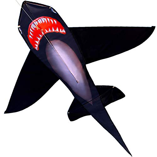 HENGDA KITE for Kids Lifelike Black Shark Kite Single Line Kite Flying for Children Kids Outdoor Toys Beach Park Playing