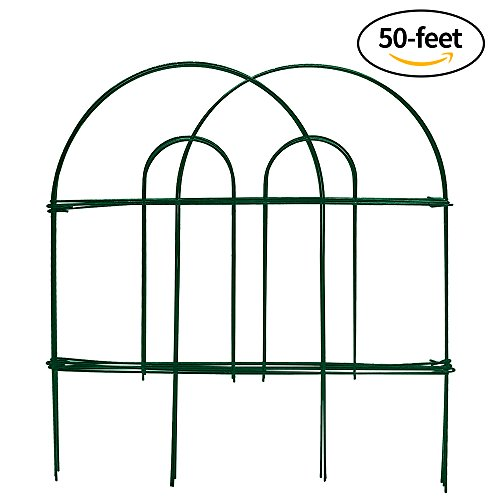 Amagabeli Decorative Garden Fence 18 in x 50 ft Rustproof Green Iron Landscape Wire Folding Fencing Ornamental Panel Border Edge Section Edging Patio Flower Bed Animal Barrier for Dog Outdoor Fences (Fence Iron Pool)