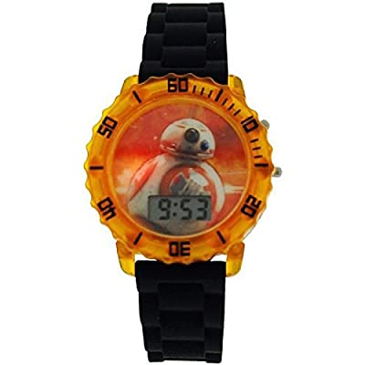 Star Wars Boys Digital Date BB8 Flashing Lights Rubber Strap Watch SWM3077 by Disney