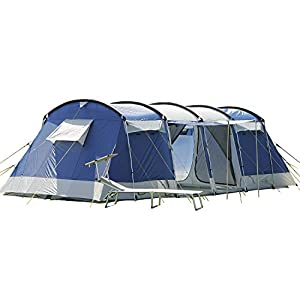 Skandika Montana Family Group Tunnel Tent with Sun Canopy, 200 cm Peak Height, 5000 mm Water Column