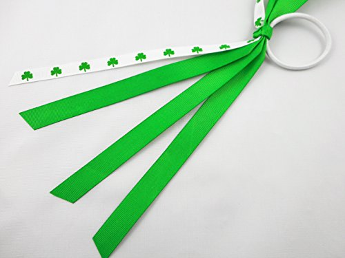 Shamrock Pony Ribbons, Hair Ties, Pony Ribbon Streamers, Pony Tail Holder by Missy Moo Designs