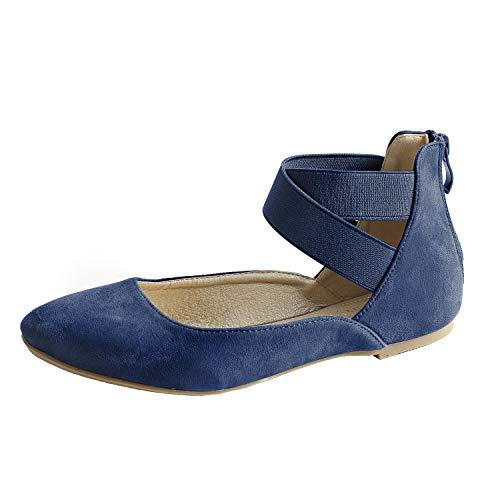 Women Flat Shoes Elastic Classic Ballerina Flats Navy Blue 09 (Blue Navy Ballerina)