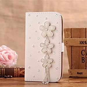 SHOUJIKE Diamonds Crystal Flowers Tassels PU Leather Full Body Case with Stand and Card Slot for Samsung GALAXY S4 Mini I9190