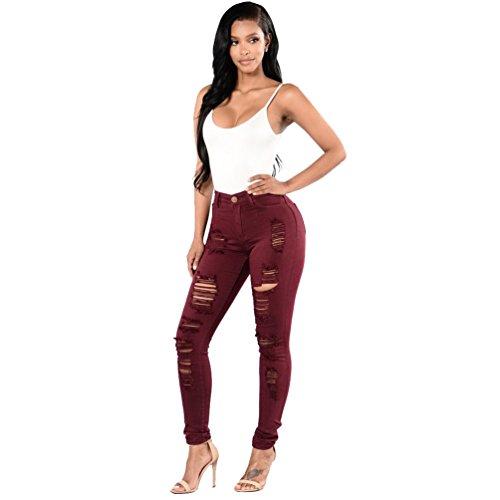Sentao Trou Pantalons Vin Stretch Fit Rouge Casual Crayon Skinny Slim Femmes Jeans rwqnagtzr