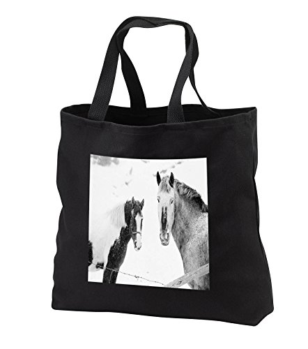 TDSwhite – Winter Seasonal Nature Photos - Winter Theme Horses In Snow - Tote Bags - Black Tote Bag JUMBO 20w x 15h x 5d -