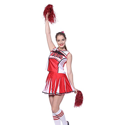 High School Musical Cheerio Glee Club 2 Pcs Cheerleader Costume Pom Poms US 6 8 ()