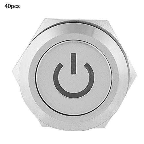 LEDプッシュボタンスイッチ、40個12V LEDライト5ピンIP65防水19mm防水NO + NC + Cセルフロックメタルプッシュボタンスイッチ、磁気スターター用(赤)