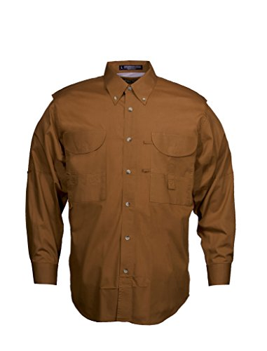 Burnt Tiger (Tiger Hill Men's Fishing Shirt Long Sleeves Burnt Orange Medium)