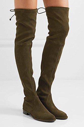 Mavirs Genou Hautes Bottes, Femmes Bout Rond Cuisse Haut Sur Les Genoux Bottes En Daim Stretch Plat Talon Bottes Hautes Olive Foncé-3cm