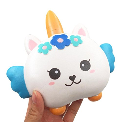 Price comparison product image Yalasga Cartoon Squishy Slow Rising Stress Reliever Toys-Cute Angel Unicorn Charm Squeeze Toy (A)