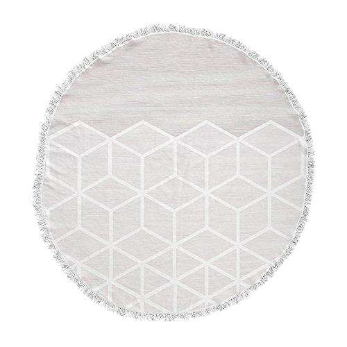 KESS InHouse Draper Geo Woodgrain Gray White Round Beach Towel Blanket by Kess InHouse