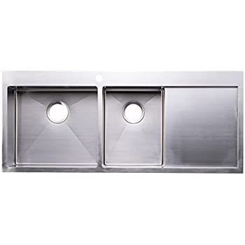 Double Bowl Kitchen Sink With Drainboard