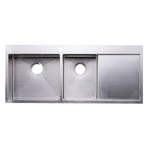 BAI 1235 – 48 Handmade Stainless Steel Kitchen Sink Double Bowl With Drainboard Top Mount 16 Gauge
