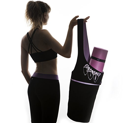 Zenifit Yoga Mat Bag - Elegant & Embroidered Cotton Tote With 2 Pockets | Wide Sling Carrier With Long Strap & 2 Elastic Mat Bands (Black & Lavender Purple)