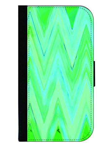 Green-Blue Chevron Fusion TM Leather and Suede Look Passport Cover with Double-Sided Design Made in the USA