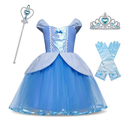 HNXDYY Cinderella Rapunzel Princess Girls Dress Fancy Party Costume + Accessories Size (100) 2-3 Years -