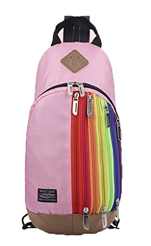 Pink Children Rucksack Travel Baymate Shoulders With Backpack Rainbow Patterns 8wddHqFn