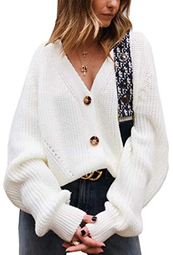 Angashion Women's V Neck Button Down Long Sleeve Cable Knit Cardigan Sweaters Outerwear Tops White XL