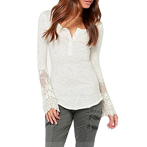Shinieny Women's Lace Slit V-neck Pullover Hi-Lo Bodycon Casual Party T-shirt
