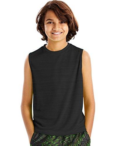 Hanes Boys Sport Sleeveless Heathered Tech Tee, M, Black Heather (Sleeveless Shirt Tech)