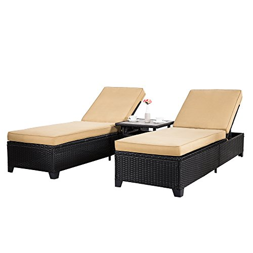 Adjustable Chaise Khaki - Cloud Mountain 3 PC Outdoor Rattan Chaise Lounges Chair Patio PE Wicker Rattan Sofa Furniture Adjustable Garden Pool Lounge Chairs and Table, Khaki Cushions Black Rattan