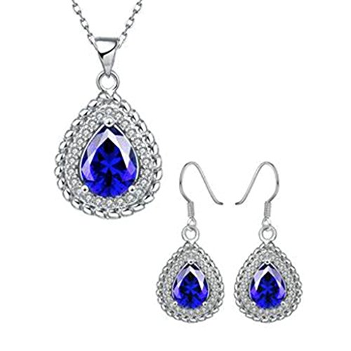 AMDXD Jewelry Gold Plated Women Jewelry Sets Blue Tear Drop CZ Necklace Earrings ()