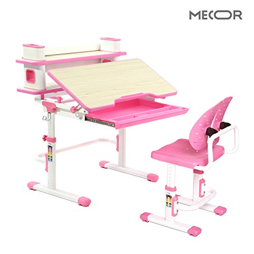 Mecor Kids Desk and Chair Sets,Student Study Table with Chair Ergonomic Winged Backrest,Height Adjustable Children Writing Table w/Bookshelf,Pull Out Drawer Storage Pink