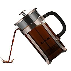 Zzanggu French Press Coffee Tea Maker Pot Travel Mug with Double Stainless Steel Filter and Replacement Durable Glass (34oz, 1L), Bronze from Zzanggu