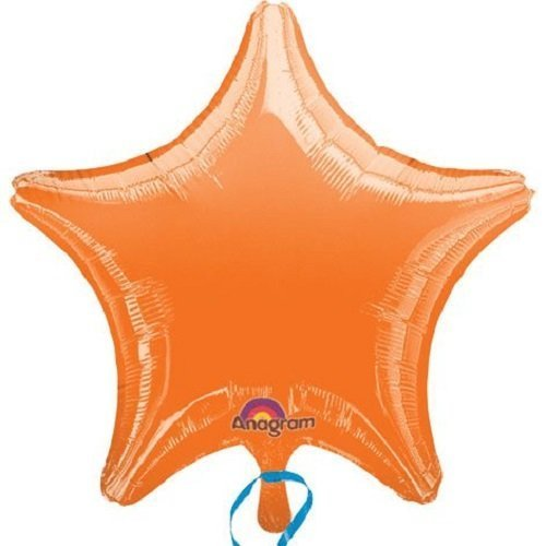 Anagram Lot of 10 Orange Star Shape Foil Mylar 19