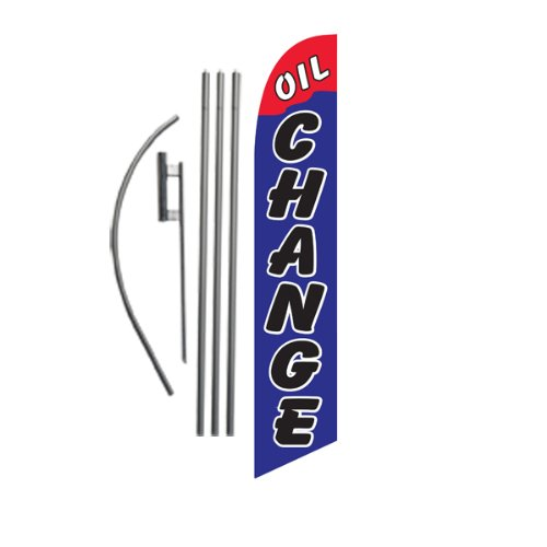 Oil Change (red/blue) 15ft Feather Banner Swooper Flag Ki...